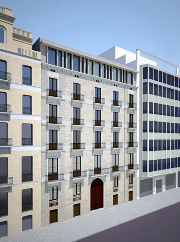 Project for a 4* Hotel Urquinaona with 80 rooms and restoration of facade, group Vincci Hoteles in Barcelona