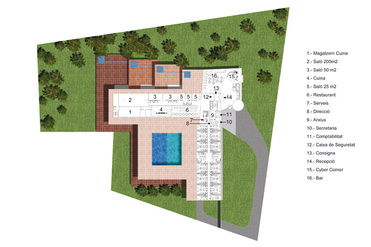 Hotel project with restaurant and swimming pool, integrated to the historical building